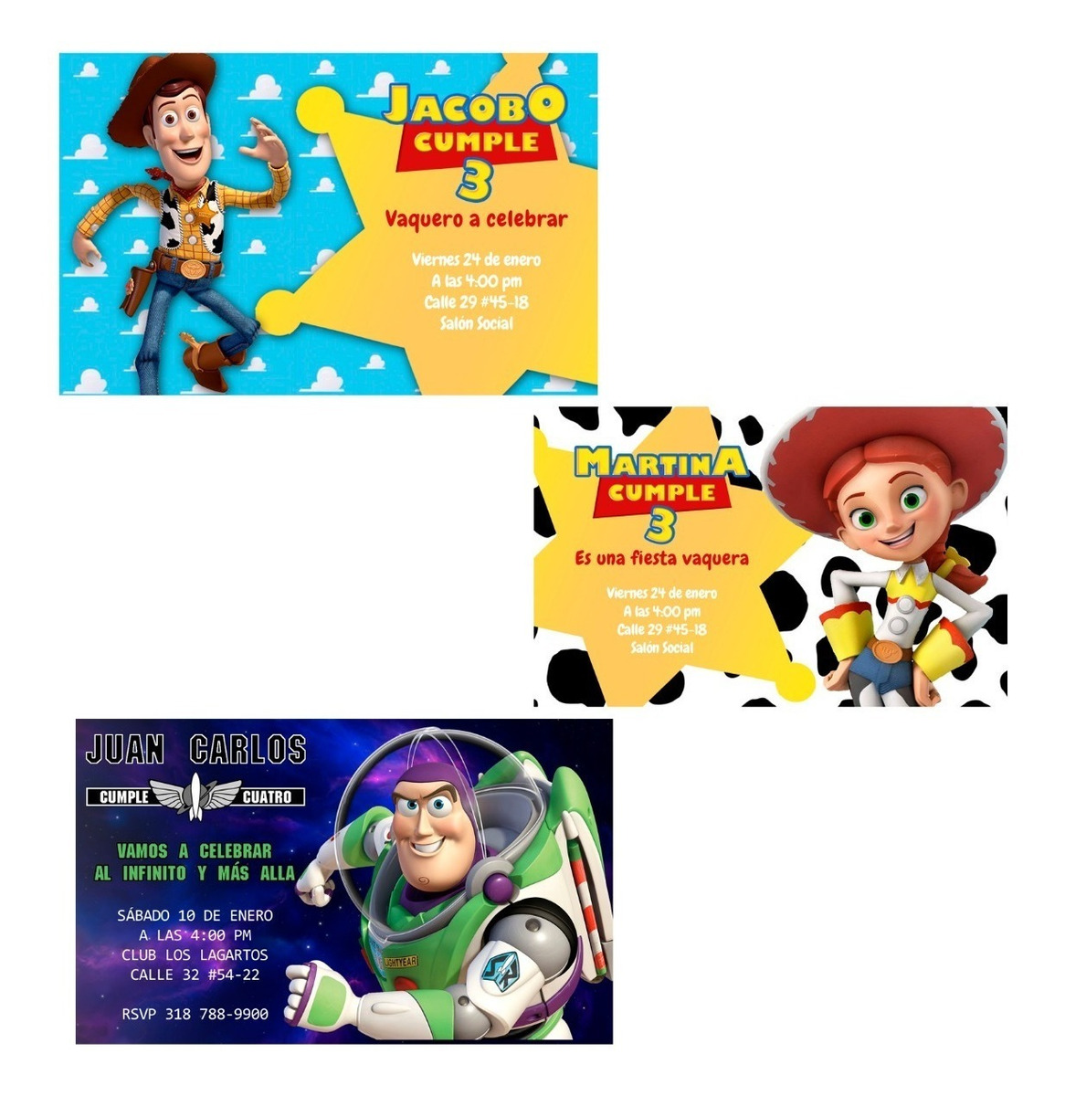 Invitación Digital Tarjeta Toy Story Woody Jessie Buzz