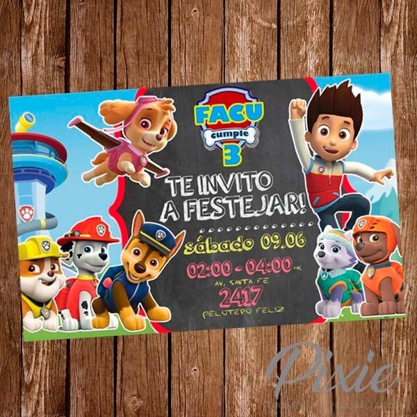 Invitacion Digital Tarjetas Cumpleaños Candy Bar Paw Patrol