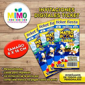 Invitacion Digital Ticket De Sonic