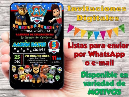 invitación digital, toppers y etiquetas paw patrol