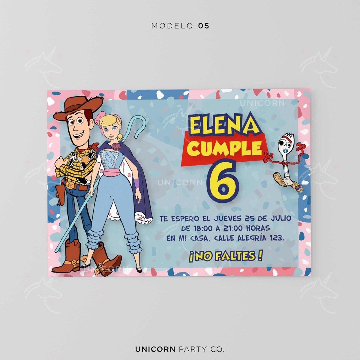 Invitación Digital Toy Story 4 Fiesta Forky Woody Cumpleaños