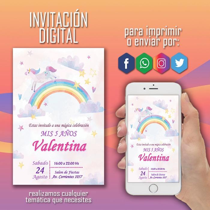 Invitación Digital Unicornio Cumpleaños Tarjeta Virtual