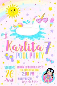Invitación Digital Unicornio Pool Party Albercada Piscinada