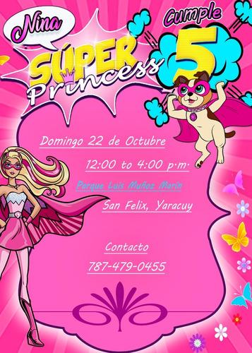 invitación digital virtual de barbie super princesa