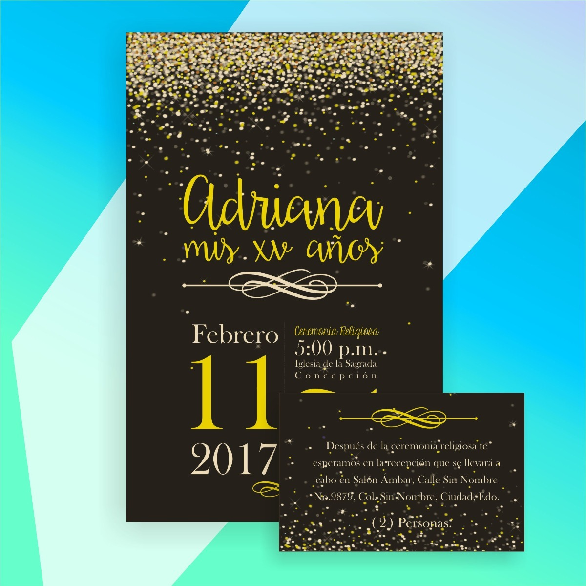 invitaci u00f3n digital xv a u00f1os  boda destellos imprimible