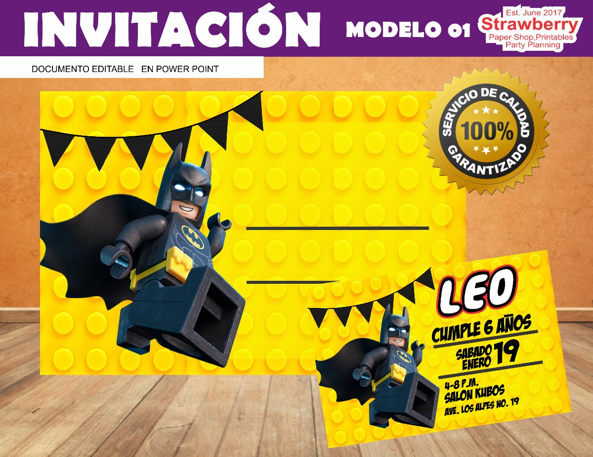 Invitacion Editable Lego Batman 01