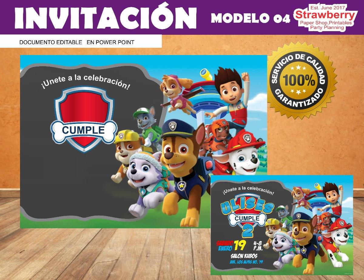 Invitacion Editable Patrulla De Cachorros Paw Patrol 04