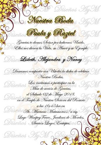 invitacion elegante y economica boda tarjeta boleto personal