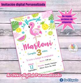 Invitacion Flamingo Pool Party Etiquetas Regalo