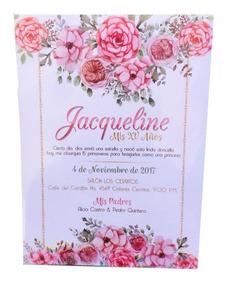 Invitación Flores Xv Años Baby Shower Bautizo Impresa 10x14c