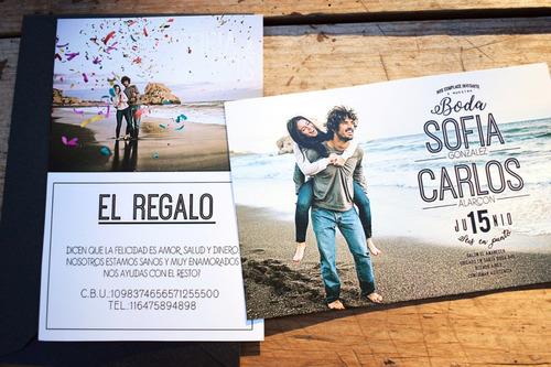 invitación foto bodas casamientos 15 años sobre perlado x20