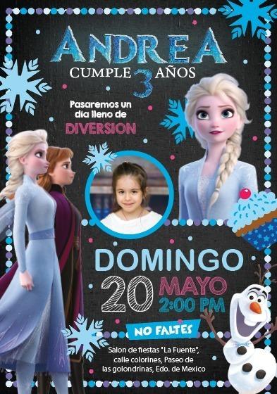 Invitacion Frozen 2 Personalizada Anna Elsa Y Olaf Digital