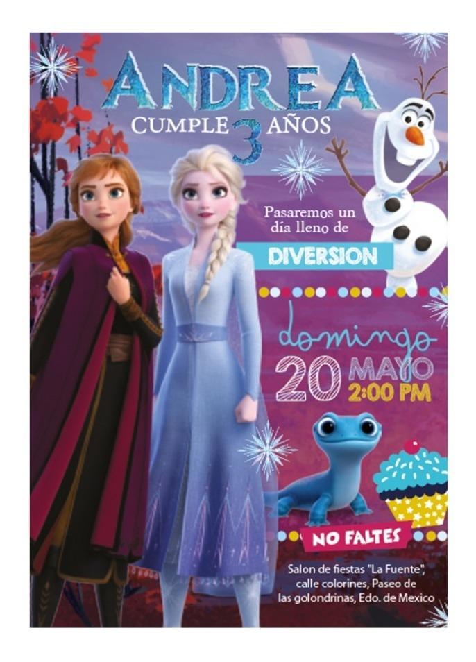 Invitacion Frozen 2 Personalizada Anna Y Elsa Nuevo Modelo
