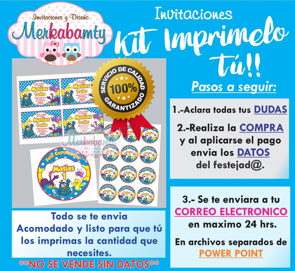 Invitacion Gallina Pintadita Kit De Cumpleaños Imprimelo Tú