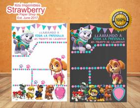 Invitacion Impresa Niña Patrulla De Cachorros Paw Patrol