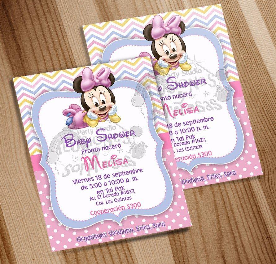 Invitacion Imprimible Baby Shower Niña Minnie Mouse