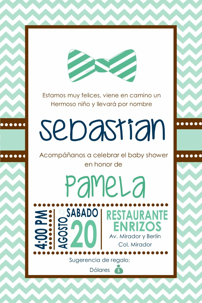 Invitacion Imprimible Baby Shower Niño Color Menta - $ 65.00 en ...