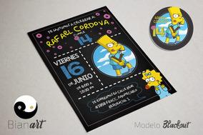 Tarjetas Simpsons Invitaciones Y Tarjetas Por Por Unidad