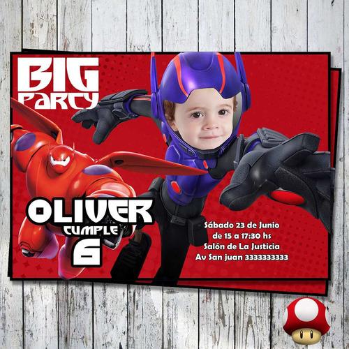 invitación imprimible grandes héroes personalizada con foto!