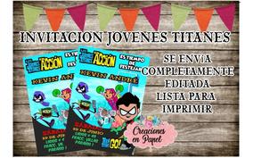 Invitacion Imprimible Jovenes Titanes Teen Titans Go Mod 1a