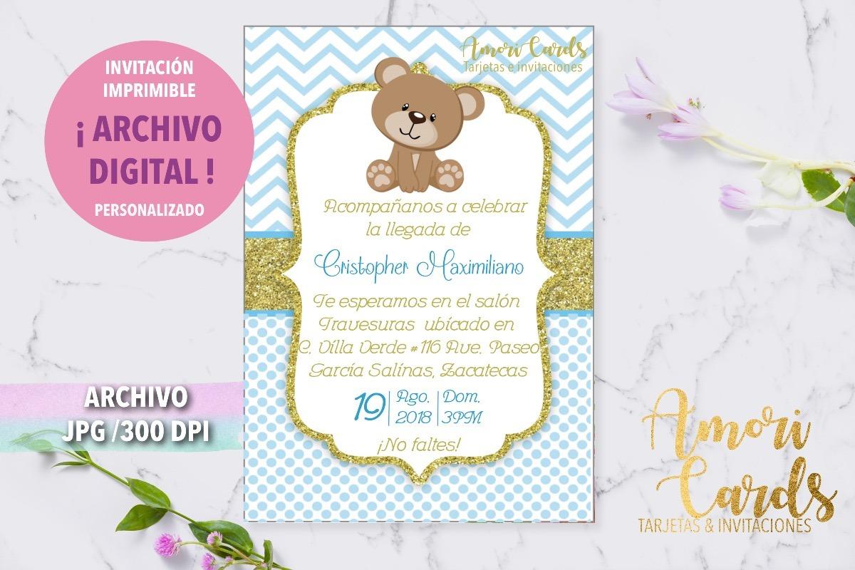 Invitación Imprimible Oso Ositos Baby Shower Niño 2000 En