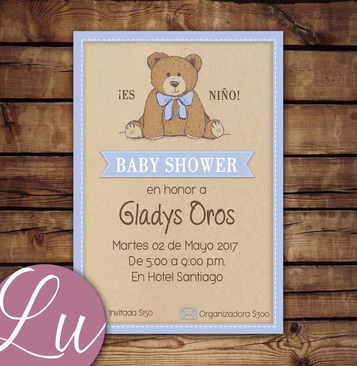 invitacion imprimible personalizada baby shower osito
