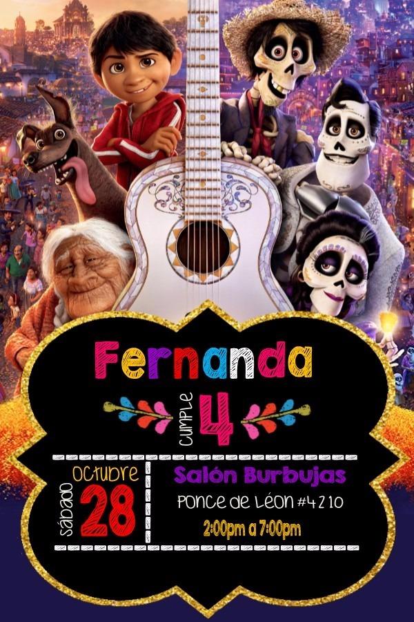 Invitacion Imprimible Personalizada Fiesta De Coco Disney - $ 65.00 ...