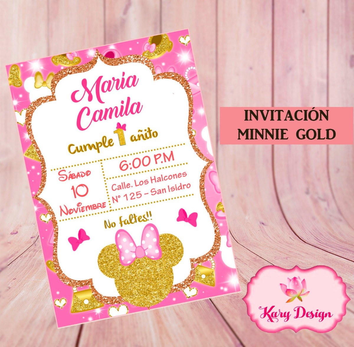 Invitación Imprimible Personalizada Minnie Gold