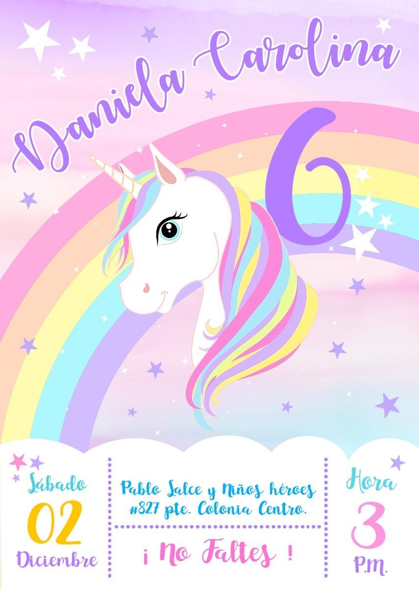 Invitación Imprimible Personalizada Unicornio Infantiles