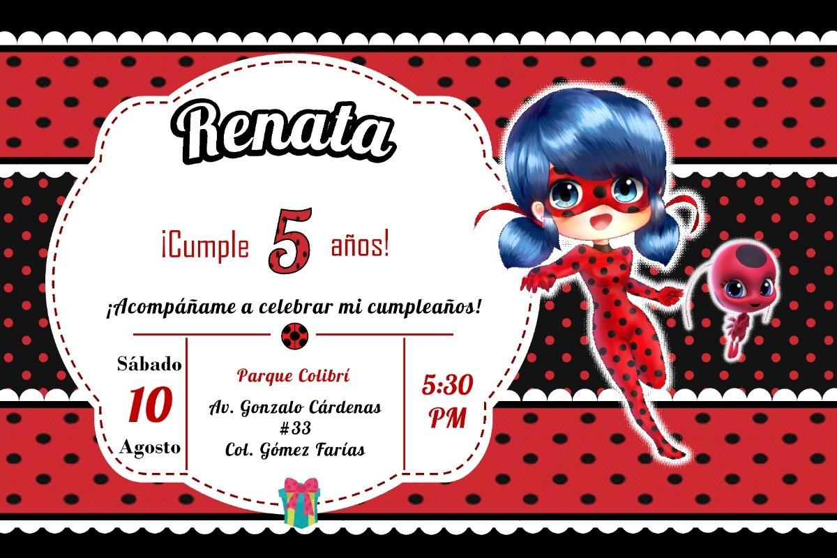 Invitacion Infantil Cumpleaños Miraculous Ladybug Imprimible $ 15 00 en Mercado Libre