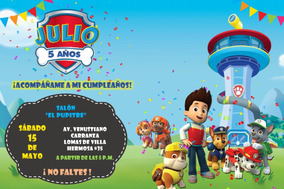 Invitacion Infantil Cumpleaños Paw Patrol Imprimible