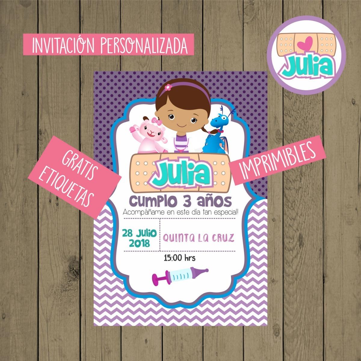 8ecfddb2bc5b5 Invitación Infantil Doctora Juguetes Presentación Niña -   80.00 en ...