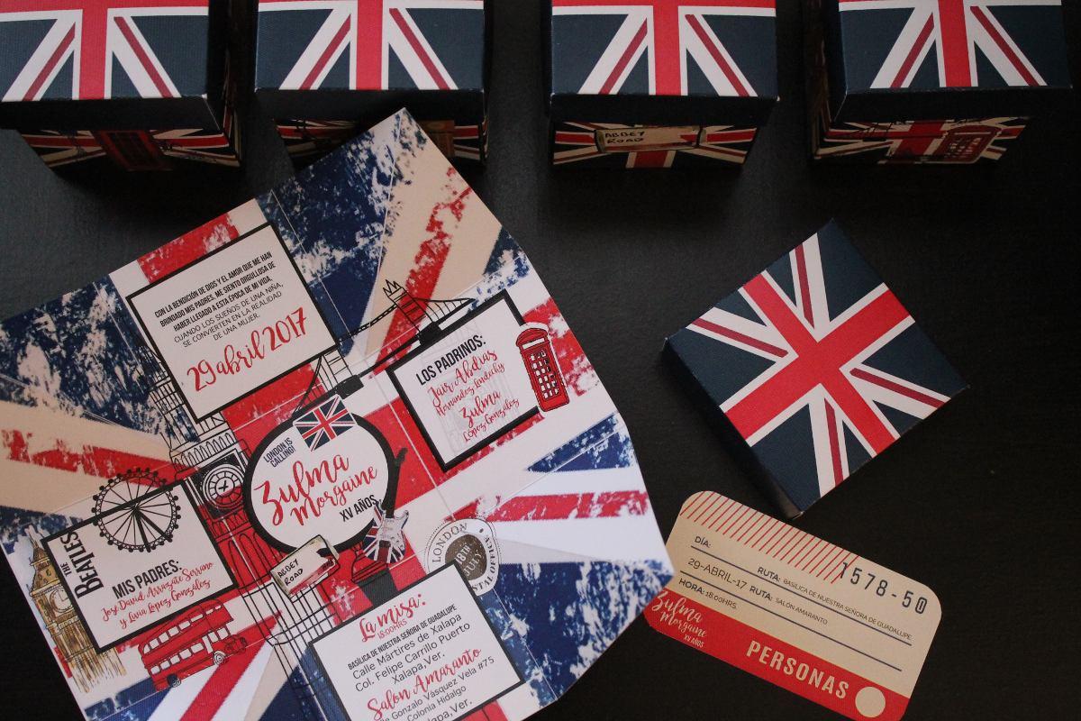 invitacin londres xv aos modernas vintage boda london caja