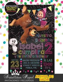 Invitación Masha Y El Oso Cumpleaños Tipo Pizarron