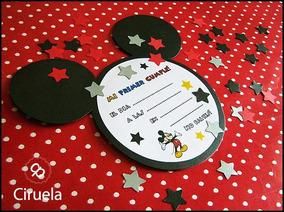 Invitación Mickey Minnie Orejitas Imprimibles Y Simple Armar