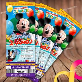 Invitación Mickey Mouse Personalizada Lista Para Imprimir