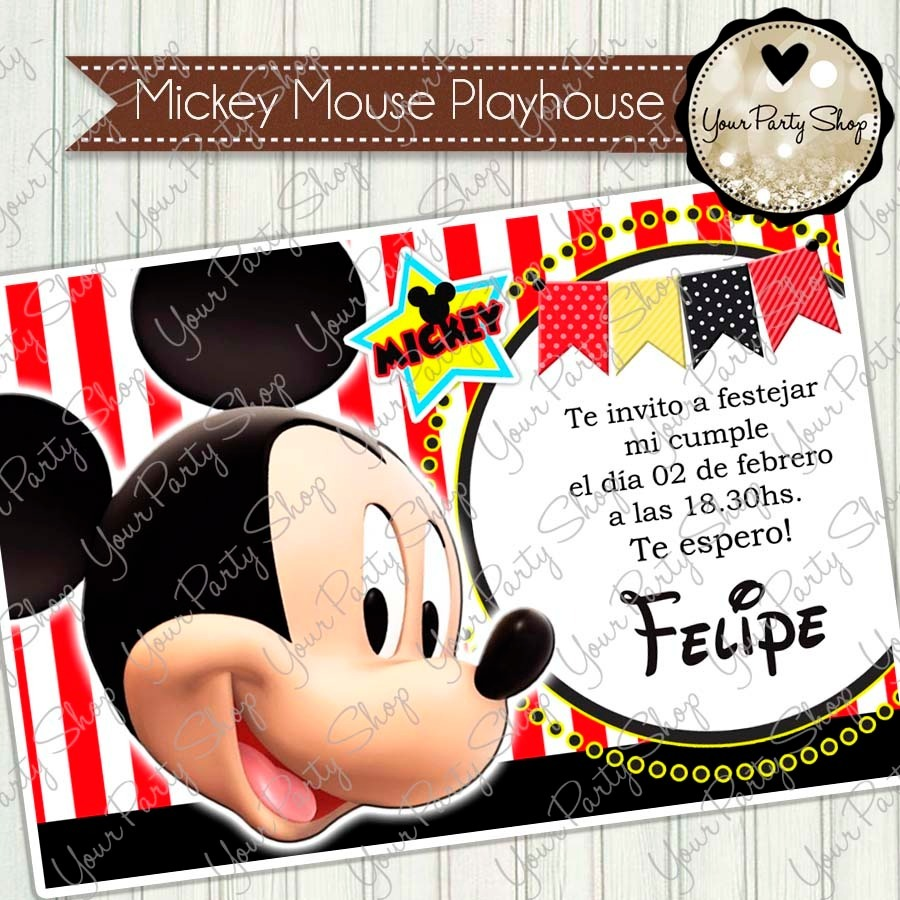 Invitacion Mickey Mouse X 16 Unidades Modelo 2