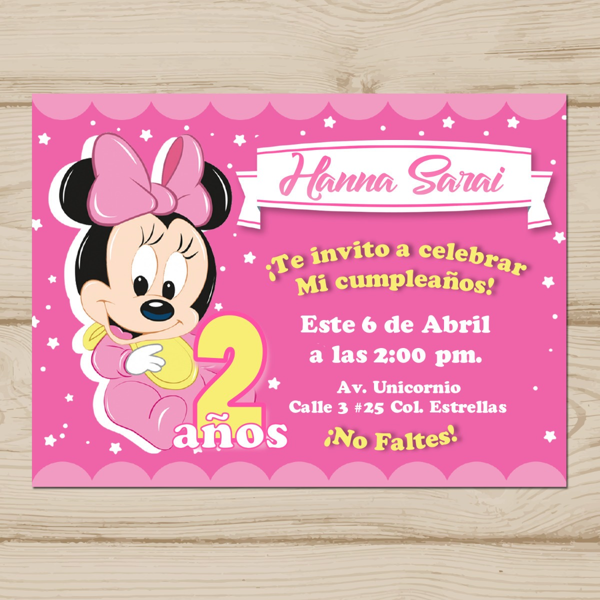 Invitacion Minnie Bebe Texto 100 Editable Para Imprimir