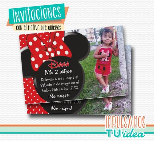 invitación minnie - tarjeta para imprimir minnie con foto