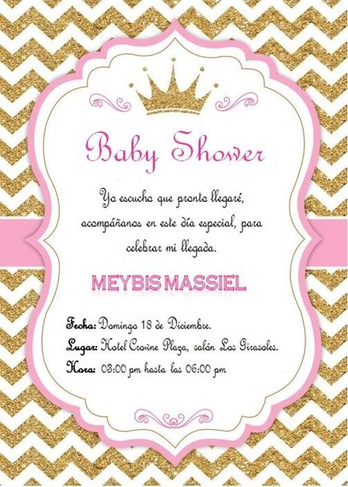 Invitacin Para Baby Shower De Coronita Con Sobre 1600 En