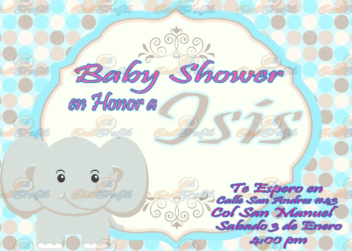 Invitacin Para Baby Shower Elefante 8000 En Mercado Libre