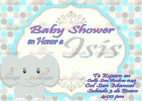 Invitación Para Baby Shower Elefante