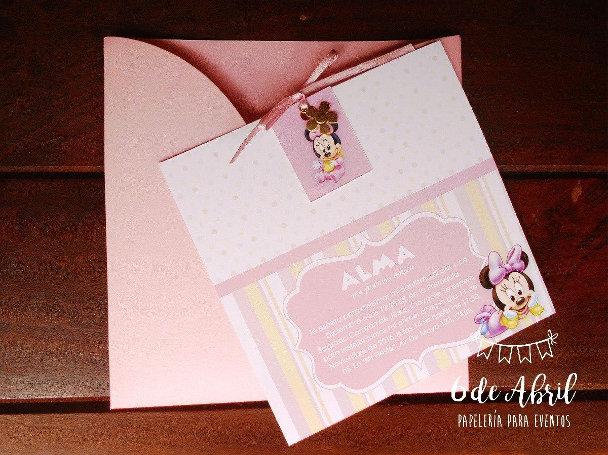 Invitación Para Bautismo Y Primer Año Minnie Mouse Baby Bebe