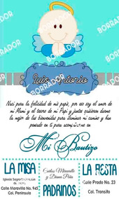 Kit Imprimible Para Bautizo K1000a Invitaciones Y Tarjetas