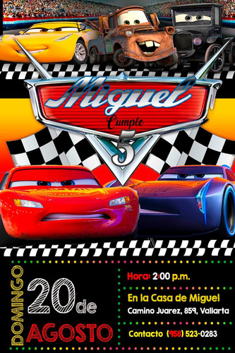 invitación para cumpleaños de cars 3, digital para imprimir