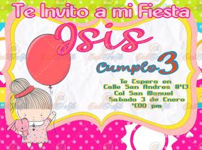 Invitación Para Fiestas Infantiles Niña Con Globo