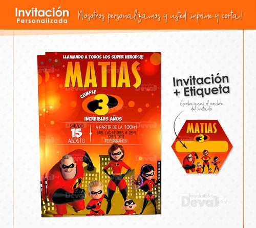 invitación personalizada  + etiqueta para tus invitados