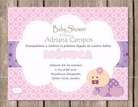 Invitación P Imprimir Baby Shower Niña Bebé Gateando Rosa