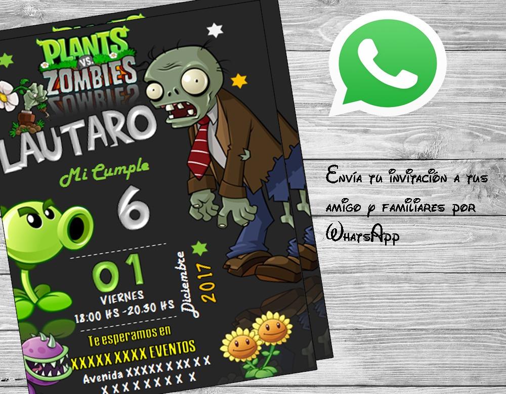 Invitación Plantas Vs Zombies Imprimible