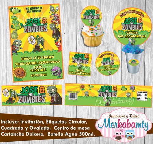 invitación plants vs zombies kit de cumpleaños imprimelo tú!